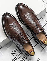 cheap -Men's Oxfords Printed Oxfords Business Vintage Classic Daily Party & Evening Nappa Leather Cowhide Non-slipping Wear Proof Booties / Ankle Boots Coffee Spring Summer
