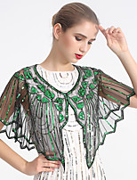 cheap -Sleeveless Elegant / Bridal Tulle / Sequined Wedding / Party / Evening Shawl & Wrap / Women's Wrap With Split Joint / Solid / Trim