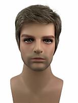 cheap -Men's Wig Short Straight Hair Brown Mixed Silver Natural Synthetic Full Wig