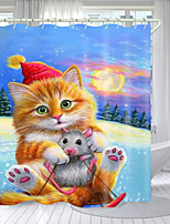 cheap -Cat Catching Mouse Digital Printing Shower Curtain Shower Curtains Hooks Modern Polyester New Design