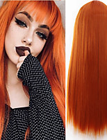 cheap -Synthetic Wig Natural Straight Neat Bang Wig Medium Length Orange Synthetic Hair Women's Cosplay Party Fashion Orange