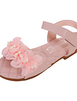 cheap -Girls' Sandals Comfort Flower Girl Shoes Princess Shoes Microfiber Little Kids(4-7ys) Daily Party & Evening Pearl Flower Pink Ivory Spring Summer