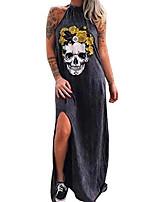 cheap -womens casual dresses cotton skull print halter high slit summer tunic maxi dress black xxl