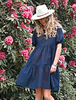cheap -european and american cross-border foreign trade solid color cotton and linen fashion casual dress