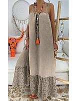 cheap -aliexpress women's cotton and linen temperament commuter pure color loose waist sleeveless sling dress loose long skirt