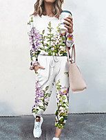 cheap -Women's Basic Streetwear Floral Vacation Casual / Daily Two Piece Set Tracksuit T shirt Pant Loungewear Jogger Pants Drawstring Print Tops