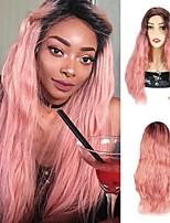 cheap -Ombre Pink Color Synthetic Hair Wigs Pink Wavy Wigs Cosplay Party Wigs Natural Wave Wigs For Black Women