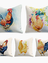 cheap -Double Side Cushion Cover 5PC Linen Soft Decorative Square  Pillowcase for Sofa Bedroom 45 x 45 cm (18 x 18 Inch) Superior Quality Print Farm Cock Hen for Patio Garden Farmhouse Bench Couch