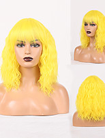 cheap -Cosplay Costume Wig Synthetic Wig Curly Loose Curl Neat Bang Wig Yellow Synthetic Hair Women's Odor Free Fashionable Design Soft Yellow
