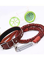 cheap -Dog Harness Leash Set Safety Steel Stainless Brown 2pcs