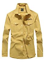 cheap -Men's Hiking Jacket Hiking Shirt / Button Down Shirts Long Sleeve Shirt Coat Top Outdoor Quick Dry Lightweight Breathable Sweat wicking Autumn / Fall Spring Summer Almond Bean Green Yellow Hunting
