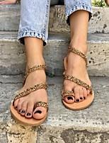 cheap -Women's Sandals Boho Bohemia Beach Flat Heel Round Toe PU Solid Colored Gold