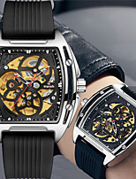 cheap -multifunctional leisure automatic hollow through bottom silicone band mechanical watch