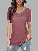 cheap -Women's T shirt Color Block Plain V Neck Tops Basic Basic Top White Black Wine