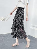 cheap -Women's Vacation Beach Casual Streetwear Skirts Graphic Layered Ruffle Print Black Red Gray
