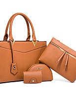 cheap -Women's Bags PU Leather Bag Set 4 Pieces Purse Set Zipper Solid Color Daily Going out Bag Sets 2021 Handbags Wine Black Khaki Brown