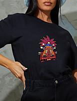 cheap -Women's T shirt Graphic Tribal Print Round Neck Tops 100% Cotton Basic Basic Top Black