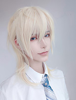 cheap -Short Cosplay Lolita Anime Wig Male Straight Hair High Temperature Fiber Synthetic Long Ponytail Light Blonde Wig for Men