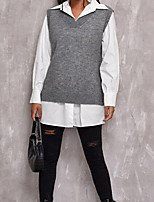 cheap -Women's Stylish Stripe Knitted Striped Solid Color Pullover Cotton Sleeveless Sweater Cardigans V Neck Fall Spring White Black Wine