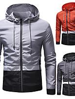 cheap -Men's Hiking Jacket Hoodie Jacket Hiking Windbreaker Autumn / Fall Spring Outdoor Quick Dry Lightweight Breathable Sweat wicking Jacket Top Hunting Fishing Climbing Orange Light Grey Dark Gray