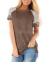 cheap -Women's T shirt Color Block Leopard Patchwork Round Neck Tops Basic Basic Top Red Light Brown Light gray