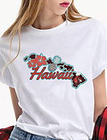 cheap -Women's Hawaii T shirt Graphic Letter Print Round Neck Tops 100% Cotton Basic Basic Top White Red Green