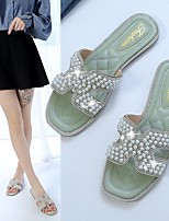 cheap -Women's Sandals Flat Heel Round Toe PU Imitation Pearl Solid Colored Green Silver Beige