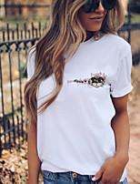 cheap -Women's T shirt Cat Animal Print Round Neck Tops 100% Cotton Basic Basic Top White Blushing Pink Gray