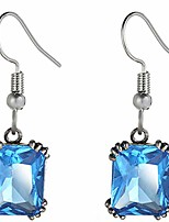 cheap -princess square cut candy color austrian crystal dangle drop earrings (aqua)