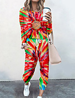 cheap -Women's Basic Streetwear Tie Dye Vacation Casual / Daily Two Piece Set Tracksuit T shirt Pant Loungewear Jogger Pants Drawstring Print Tops
