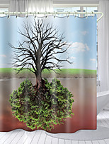 cheap -Reflecting Pine Tree Digital Printing Shower Curtain Shower Curtains Hooks Modern Polyester New Design