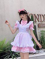 cheap -Lolita Cute Dress Women's Japanese Cosplay Costumes Light Pink / Black / Blue Solid Color / Apron