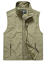 cheap -Men's Hiking Vest / Gilet Fishing Vest Sleeveless V Neck Vest / Gilet Jacket Top Outdoor Quick Dry Lightweight Breathable Sweat wicking Autumn / Fall Spring Summer Polyester Solid Color Army Green