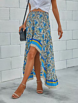 cheap -Women's Holiday Casual / Daily Vintage Boho Skirts Floral Graphic Ruffle Print Blue Red