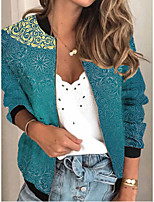 cheap -Women's Jackets Color Block Print Sporty Fall Jacket Regular Daily Long Sleeve Air Layer Fabric Coat Tops Blue