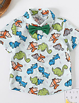 cheap -Kids Boys' Shirt Short Sleeve Dinosaur Animal Birthday Party Casual / Daily Print Children Children's Day Summer Tops Streetwear Regular Fit Blue 3-6 Years