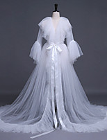cheap -Long Sleeve Glam / Bridal Tulle Wedding / Wedding Party Women's Wrap With Solid