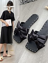 cheap -Women's Slippers & Flip-Flops Flat Heel Open Toe Silk Polyester Solid Colored Black Light Red Pink