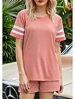 cheap -Women's Home Cotton everyday Scoop Neck Loungewear Short Sleeve Print Spring & Summer Textured S Black