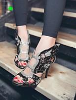 cheap -Women's Sandals Stiletto Heel Peep Toe PU Synthetics Dark Grey Pink Gold