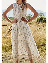cheap -Women's A Line Dress Maxi long Dress White Sleeveless Floral Patchwork Print Fall Summer Round Neck Elegant Casual 2021 S M L XL