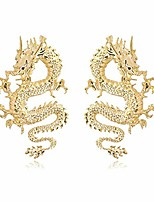 cheap -vintage chinese style dragon stud earrings trendy punk animal totem earrings 2020 unique chic metal dragon statement earrings dainty gold plated earring for women girls jewelry(gold)
