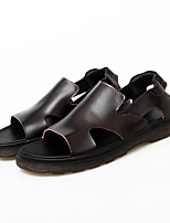 cheap -Men's Sandals Leather Shoes Flat Sandals Gladiator Sandals Roman Sandals Casual Beach Roman Shoes Daily Outdoor Water Shoes Walking Shoes Nappa Leather Cowhide Breathable Non-slipping Shock Absorbing