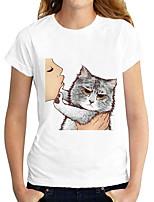 cheap -Women's T shirt Cat Graphic Print Round Neck Tops Basic Basic Top White Black Dark Gray