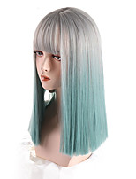cheap -Synthetic Wig Lady Silver Gray Gradient Aqua Blue Medium Length Straight Hair Cosplay Wigs with Bangs Heat-resistant Blunt Cut Bob
