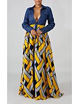 cheap -Women's Shirt Dress Maxi long Dress Red Yellow Long Sleeve Geometric Patchwork Print Fall Summer Shirt Collar Elegant Casual 2021 S M L XL XXL 3XL 4XL