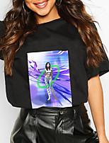 cheap -Women's T shirt Graphic Geometric Portrait Print Round Neck Tops 100% Cotton Basic Basic Top White Black