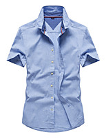 cheap -Men's Hiking Jacket Hiking Shirt / Button Down Shirts Short Sleeve Shirt Coat Top Outdoor Quick Dry Lightweight Breathable Sweat wicking Autumn / Fall Spring Summer Light Blue Pink Navy Blue Hunting