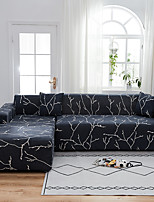 cheap -Black Branch Print Dustproof All-powerful  Stretch L Shape Sofa Cover Super Soft Fabric Sofa Furniture Protector with One Free Boster Case