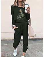 cheap -Women Basic Streetwear Print Vacation Casual / Daily Two Piece Set Tracksuit T shirt Pant Loungewear Drawstring Print Tops